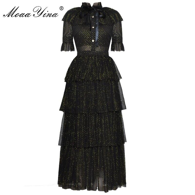 Kadın Giyim'ten Elbiseler'de MoaaYina moda tasarımcı pist elbise yaz kadın standı yaka kısa kollu ilmek örgü Lurex partiler zarif kek elbise'da  Grup 1