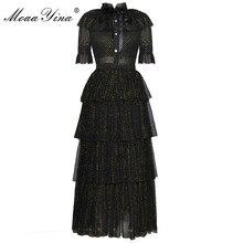 MoaaYina moda tasarımcı pist elbise yaz kadın standı yaka kısa kollu ilmek örgü Lurex partiler zarif kek elbise