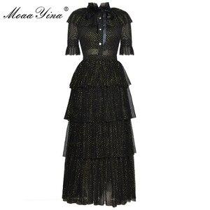 Image 1 - Женское платье с люрексом MoaaYina, дизайнерское подиумное летнее платье с воротником стойкой, короткий рукав бант, Сетчатое нарядное платье для вечеринок