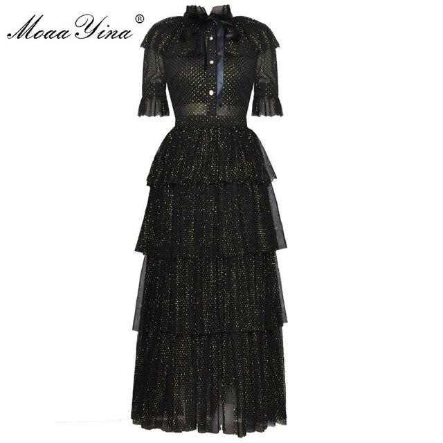 Женское платье с люрексом MoaaYina, дизайнерское подиумное летнее платье с воротником стойкой, короткий рукав бант, Сетчатое нарядное платье для вечеринок