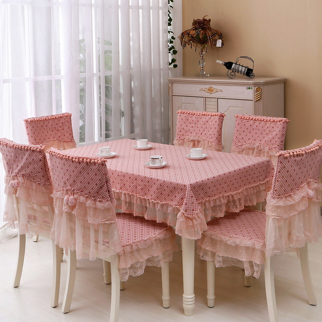 Dining Room Table Chair Covers: Korean Style Pastoral Dining Tablecloth Pink Lace Table