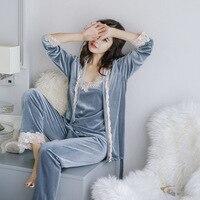 Lisacmvpnel 3 Pcs Velvet Spaghetti Strap Women Winter Pajamas With Pad Long Sleeve Sexy Female Homewear