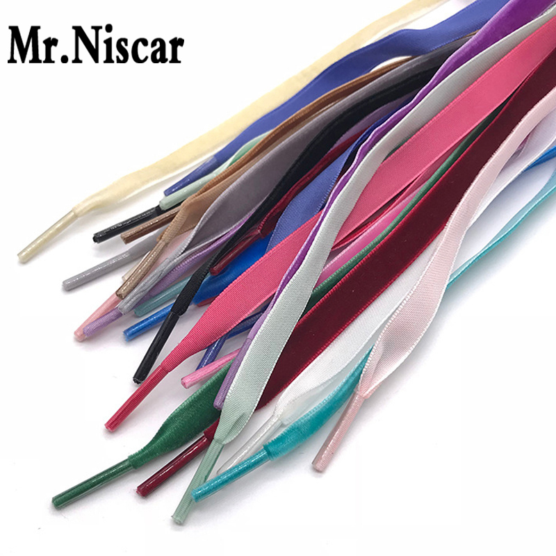 Mr.Niscar 1 Pair Velvet Shoelaces Flat Colored Shoe Laces for Canvas Shoes Strings Rope 1cm Width 80-140cm 15 Colors mr niscar 10 pair width 0 8cm thick 0 2cm flat waxed shoelaces wax cotton shoe laces strings for leather shoes boots lace rope