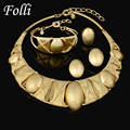 2016 New Fashion Women Dubai Gold Plated African Costumes Beads Wedding Bridal Party Earrings Bracelet Necklace Ring Jewelry Set