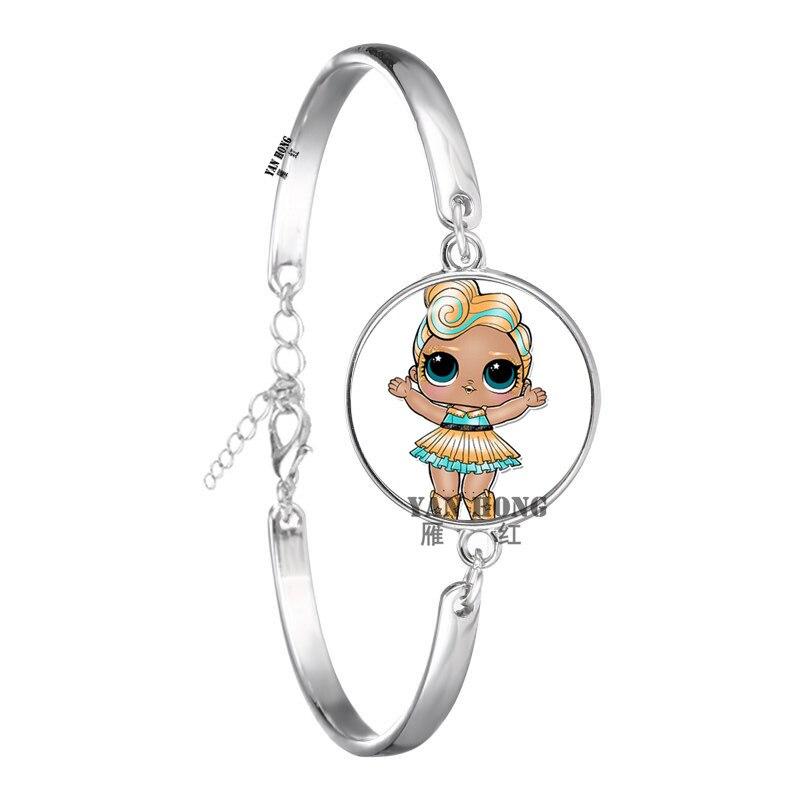Красивый кукольный стеклянный браслет 20 мм стеклянный купол мультфильм ювелирные изделия круглый стеклянный браслет детский очаровательный подарок - Окраска металла: 2