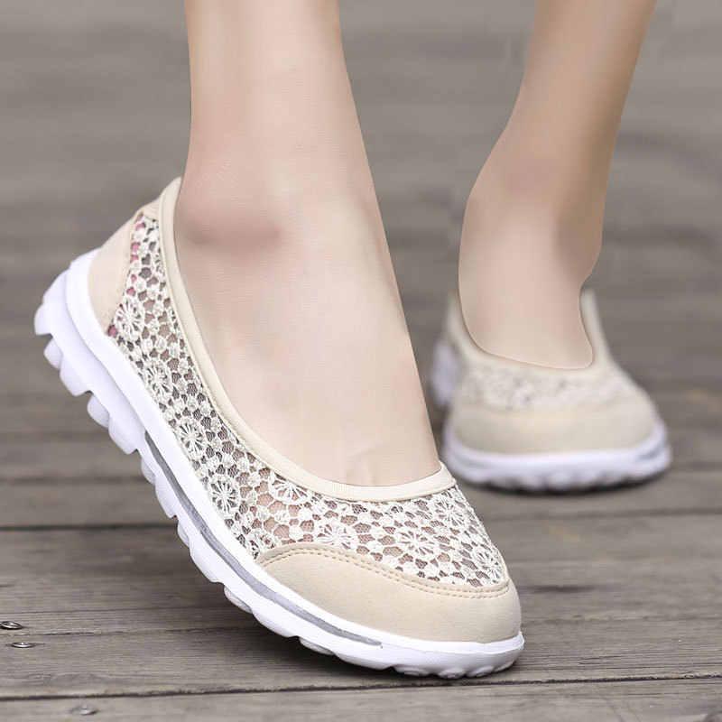 Yeni Ayakkabı Kadınlar Flats Casual Dantel Sığ Bot Ayakkabı Kadın Chaussures femme plakaları 2019 Yaz Loafer'lar Üzerinde Kayma Zapatos de mujer