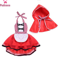 2 Piece Newborn Baby Girl Clothes Toddler Girls Little Red Riding Hood Party Fancy Dress Baby Girl Princess Dresses Clothing