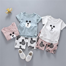 Summer Baby Boys Short Sleeve T shirt Cotton Tops Cartoon Mouse Shorts Kids Clothing Sets Girls