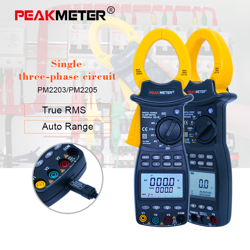 PEAKMETER single/3-Phase digital power Clamp Meter rue-RMS 4 Wire harmonious clamp current circuit meter RS232C interface zipabox power current clamp 35a