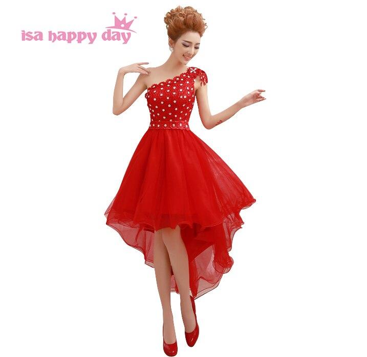 Robe de soirée élégante rouge formelle salut basse une épaule robe de soirée femmes court avant longue dos robes robes de bal chine W2090