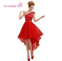Robe de soiree elegante rote formale hallo low one shoulder abendkleid kleid frauen kurze vordere lange zurück kleider ballkleider china W2090