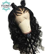 FlowerSeason Preplucked Hairline Glueless Brazīlijas pilnas mežģīņu parūkas Cilvēka mati ar bērnu matiem melnādainām sievietēm, kas nav Remy Hair Wavy
