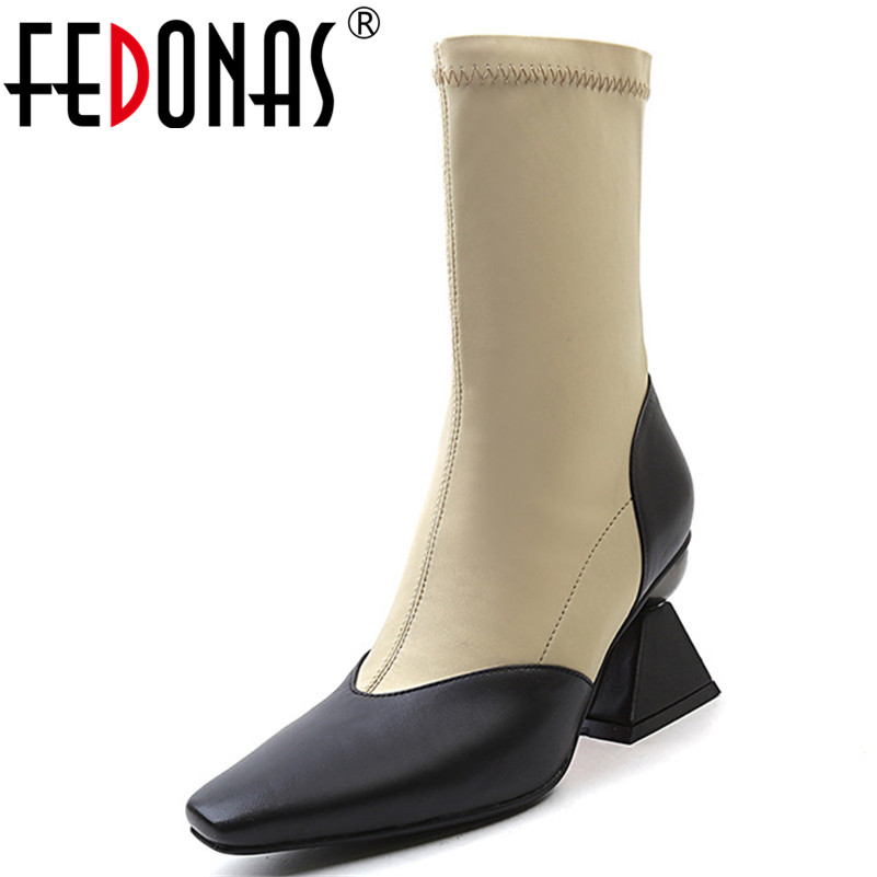 FEDONAS New Arrival Women Mid-calf Boots Sexy Patchwork High Heels Warm Socks Boots Ladies Night Club Party Pumps High Boots ombre circle calf length socks