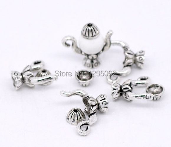 50Sets Beads Caps Teapot Flower Silver Tone DIY Jewelry Making Charms Findings Component Wholesale 19x15mm