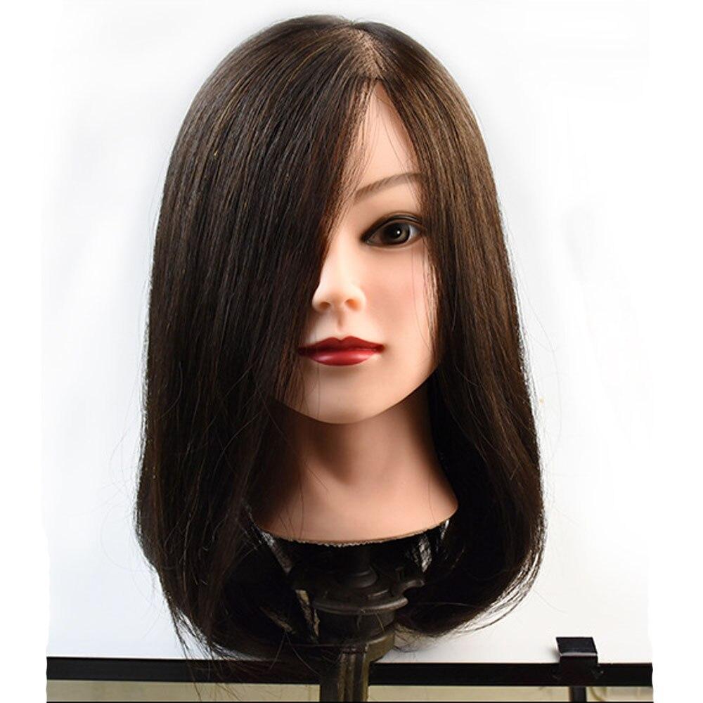 100% Réel de Cheveux Humains Tête de Mannequin 20 Noir Salon De Coiffure Formation Pratique Moldel Tête de Mannequin Cheveux Styling Outils