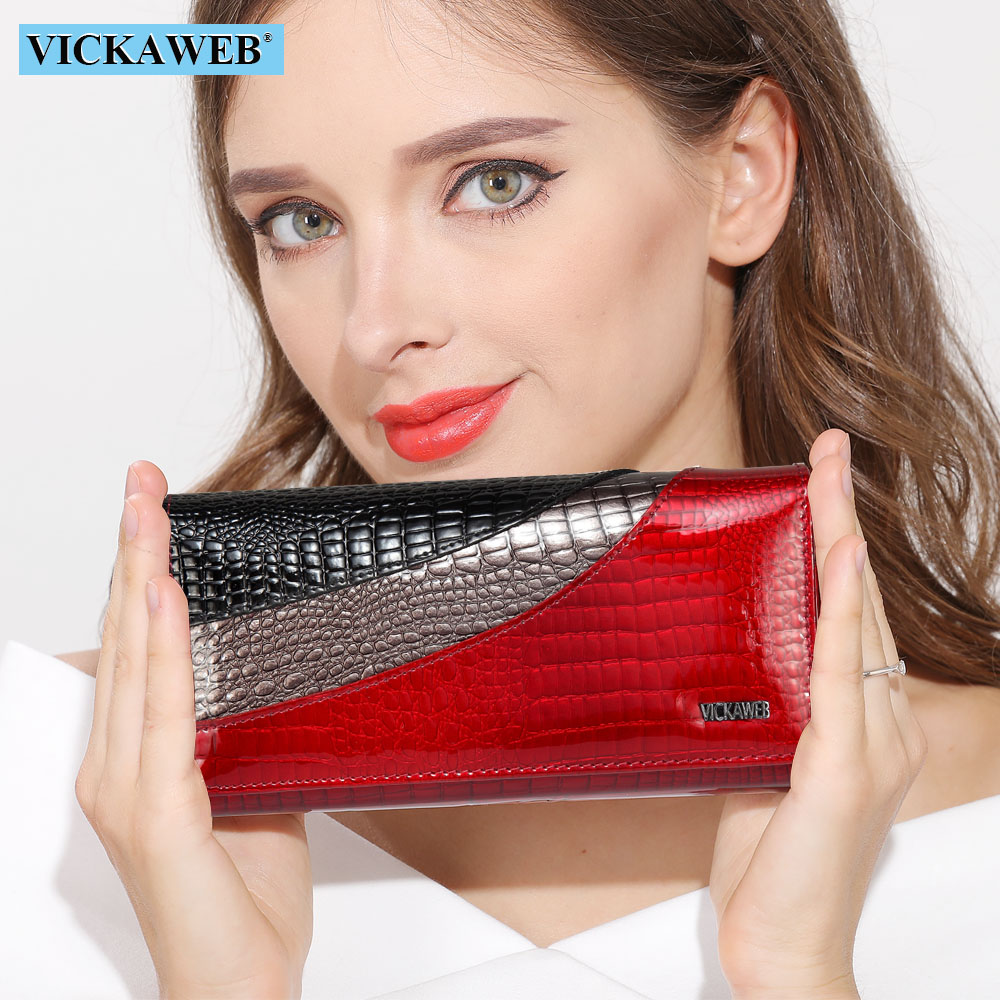 VICKAWEB Wallet Female Patchwork Long Women Wallets Genuine Leather Purses Ladies Vintage Hasp Purse Alligator Standard Wallets