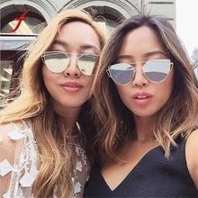 Feitong Manera de Doble Vigas de Las Mujeres Clásicas gafas de Sol de Marco de Metal Espejo Gafas de Sol Del Ojo de Gato gafas de sol mujer nueva