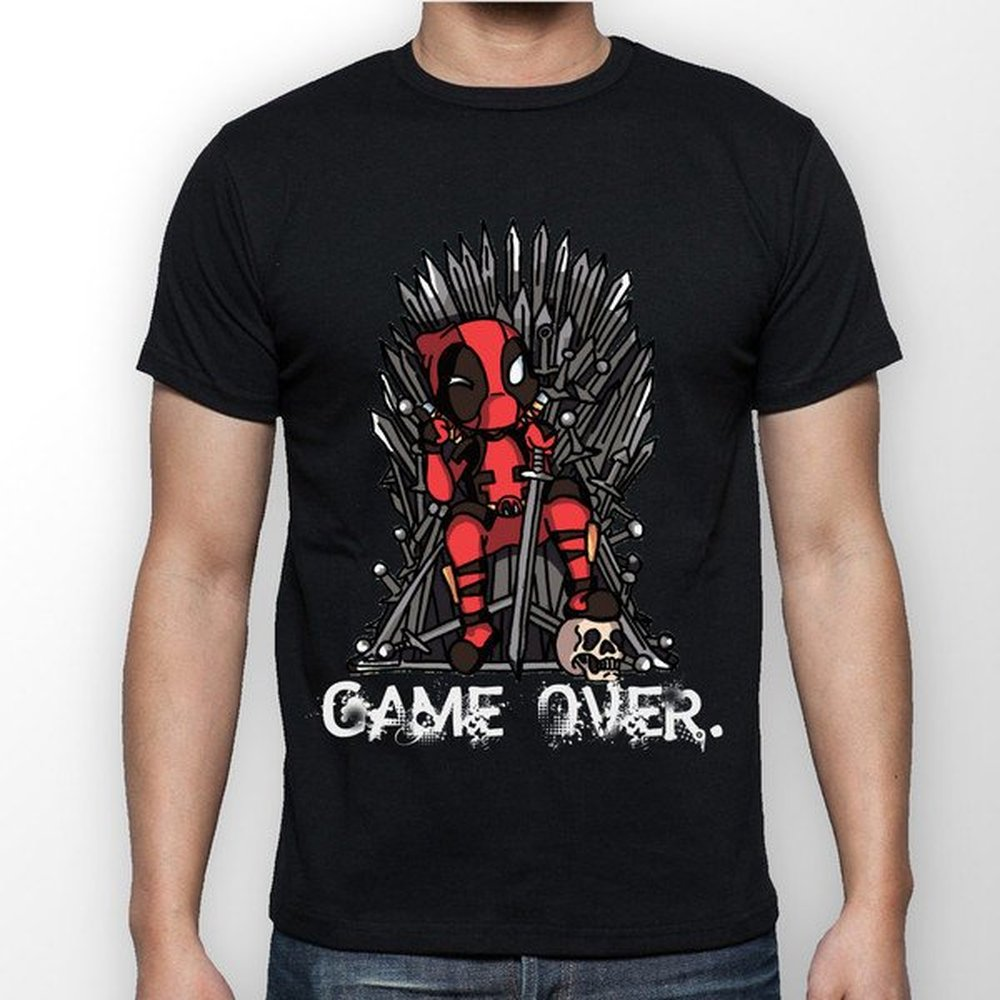 GAME OVER Deadpool VS Game of Thrones T Shirt Mens Funny Deadpool Shirt Hispter Tee Graphic T-Shirt