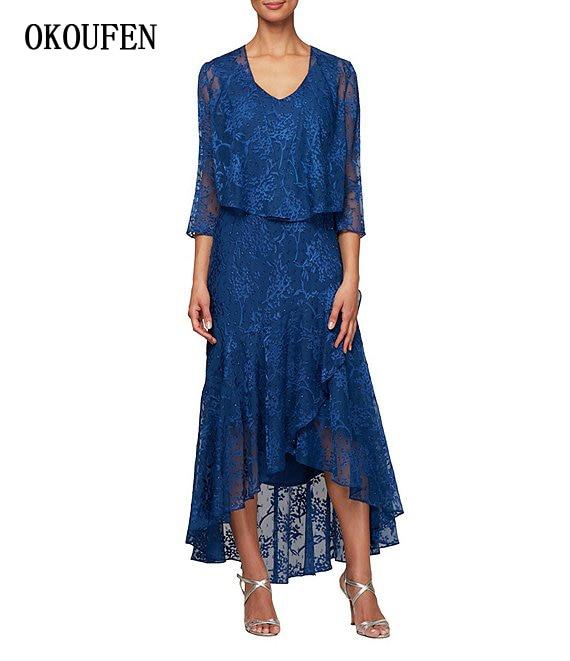 Lace Mother of the Bride Dresses 2019 Blue Asymmetric 3/4 Sleeves 2 Pieces kurti for women Formal vestidos de madrinha farsali