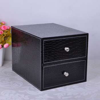 double layer double drawer wood structure leather desk filing cabinet storage box office organizer document container black 214C