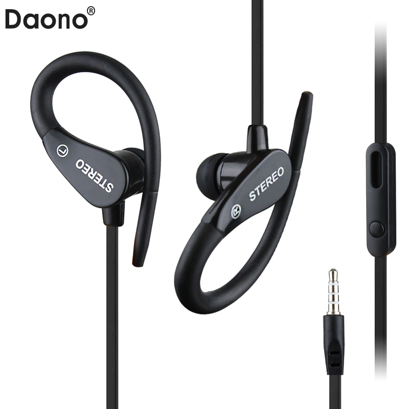 Daono A3 Sport Headphones Waterproof Earphone Running Sweatproof Stereo Bass Music Headset With Mic For iphone Xiaomi MP3 qkz c6 sport earphone running earphones waterproof mobile headset with microphone stereo mp3 earhook w1 for mp3 smart phones