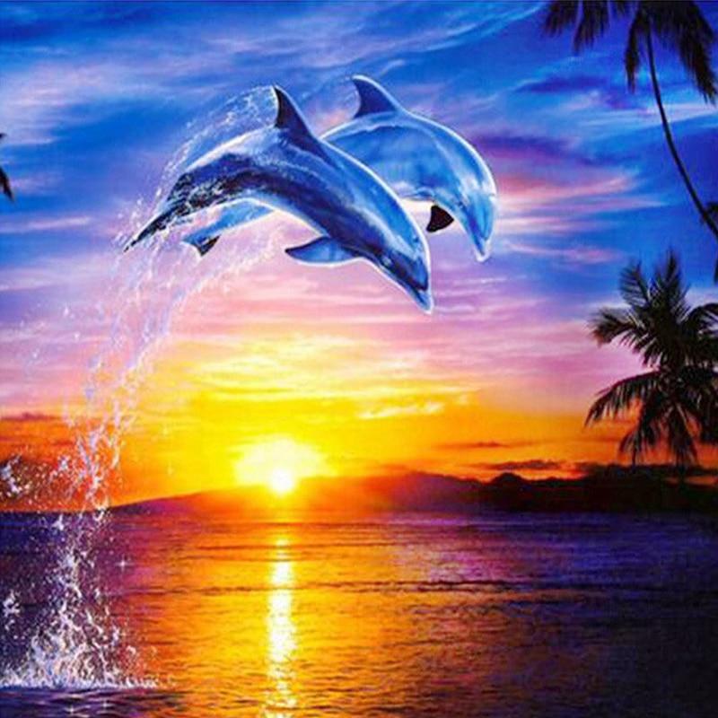 Cute Palm Tree Wallpaper Diy Diamond Embroidery Icon Water Dolphin 5d Rhinestone