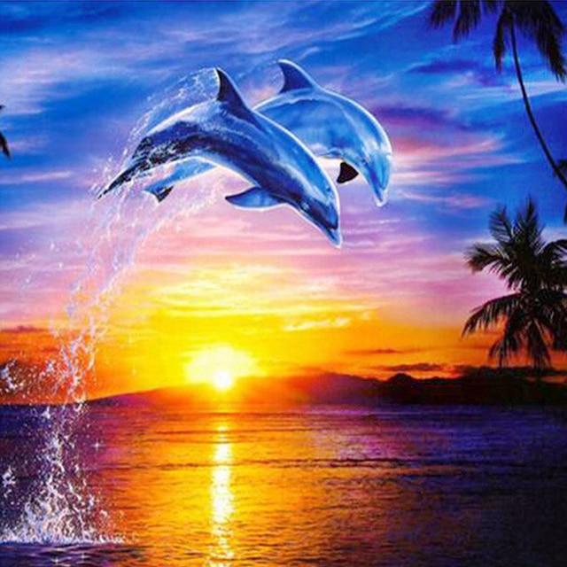 Wall Decor Art 5d Diy Diamond Painting Dolphins Swim