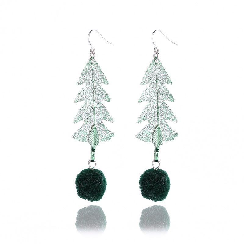 ArcaSanta Sheared Cristmas Tree shape Natural leaf Earring 2018 fashion unique women jew ...