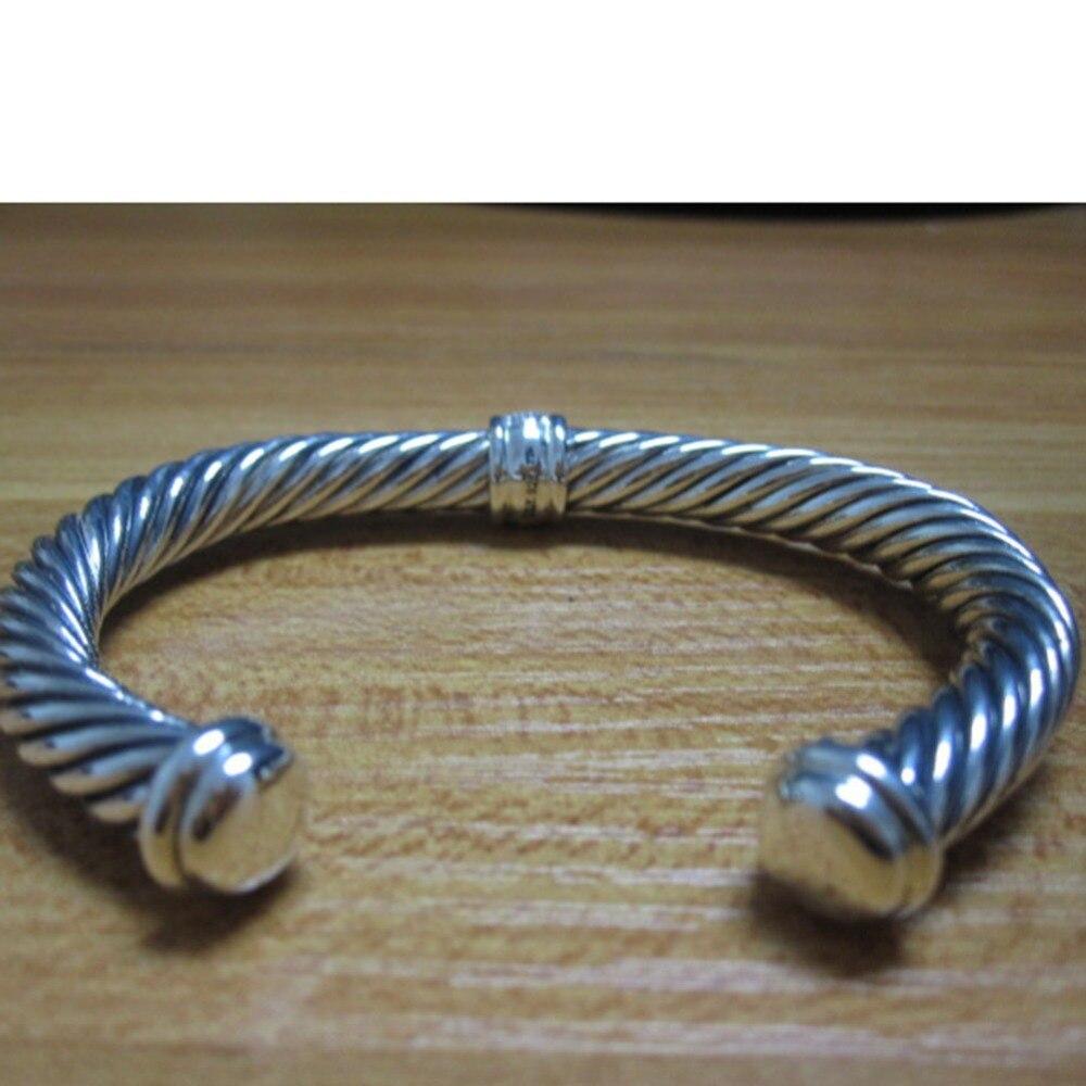 Bijoux en argent Sterling 7mm pavé de diamants Bracelet de câble Bracelet fin de mode femmes Bracelet cadeaux de saint valentin - 3
