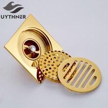 Uythner сливной фильтр для ванной комнаты 10*10 см, Золотой квадратный сливной фильтр для ванной комнаты, прямые продажи с фабрики