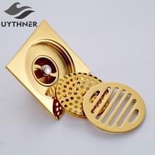 Uythner Bath Floor Drain 10*10cm Gold Bathroom Shower Square Drain Strainer Factory Direct Sales Bathroom Drain Floor