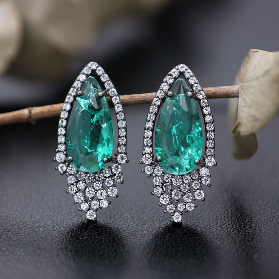 2019 Water Drop Design Stud Earrings For Women Nature Stone Crystal Glass Earrings Party Fashion Rhinestone Jewelry For Female