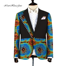 African Jacket For Men Long Sleeve Top Mens Clothing Dashiki Print Patchwork Blazer Outfits WY753