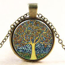 OneckOha Vintage Time Stone Necklace Colorful Tree Of Life Necklace Steampunk Jewelry Short Necklace