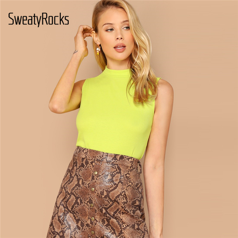 SweatyRocks Neon Mock Neck Rib-knit Sleeveless   Top   Solid Streetwear Elegant Slim Vest 2019 Summer Women Casual Skinny   Tank     Tops