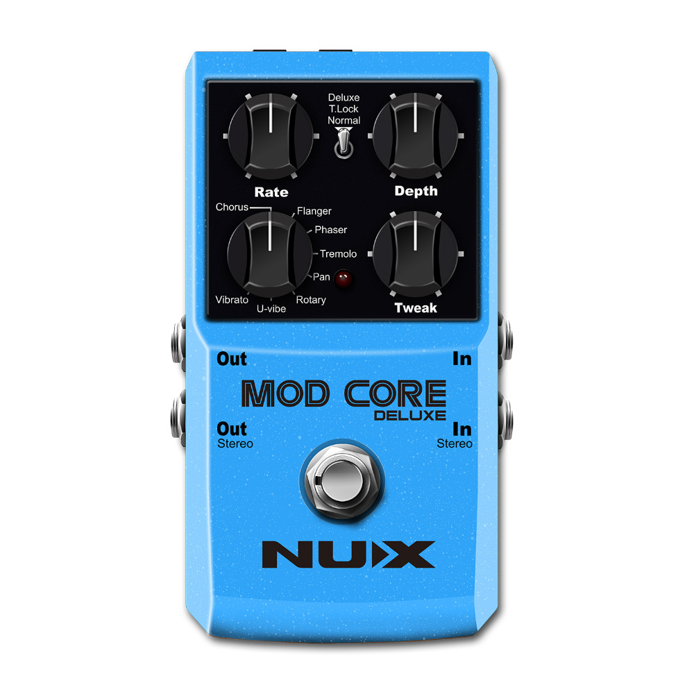 NUX Mod Core Deluxe 16 Guitar Effects Pedal Modulation Guitar Effect Pedal True Bypass Aluminum Alloy Shell Guitar Accessories ams 3 mod station modulation ensemble guitar effect pedal aroma mini digita pedals effects with true bypass full metal shell