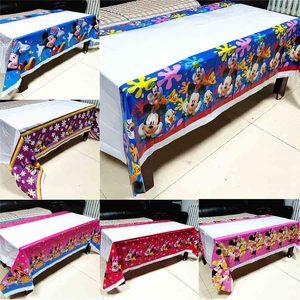 Image 1 - ミッキーマウステーブルクロス子供の誕生日パーティー用品ミニーマウステーブルクロスベビーシャワーミッキーミニー使い捨てテーブルクロス