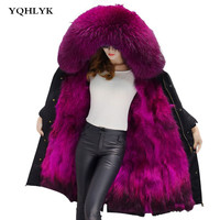 Длинные зимняя куртка женские Пиджаки толстые парки Енот натуральный мех воротник пальто с капюшоном Настоящее теплый Лисий Мех Лайнер Parker
