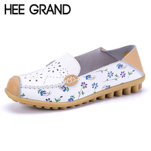 HEE GRAND Summer Loafers Leather Floral Moccasin Platform Shoes Woman Soft  Slip On Flats Comfortable Casual Women Shoes XWD4010