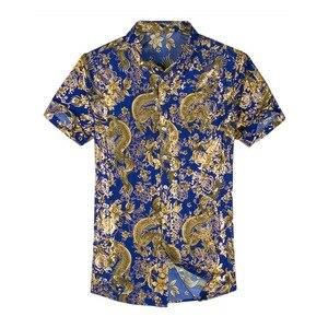 Image 1 - Гавайская Повседневная рубашка из 80% шелка, мужская пляжная летняя одежда с короткими рукавами и принтом с обеих сторон, с китайским драконом и цветком нации 2020