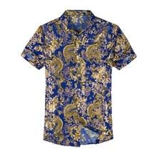 Camisa hawaiana de manga corta para hombre, camisa informal de seda 80% con estampado de ambos lados, flor de la nación del dragón chino, ropa de playa 2020