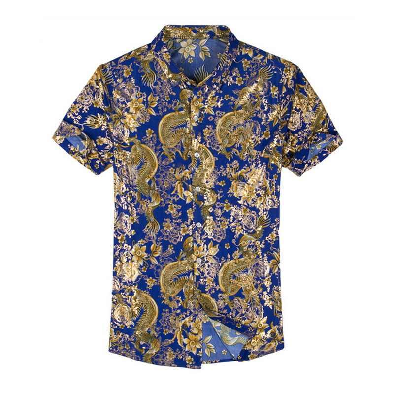 Casual 80% camisa de seda hombres de manga corta ambos lados impresión China dragón Nation flor 2019 playa ropa de verano