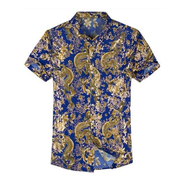 Hawaiian Casual 80% ผ้าไหมเสื้อผู้ชายแขนสั้นทั้งสองด้านพิมพ์มังกรจีนNationดอกไม้ 2020 ชายหาดฤดูร้อนเสื้อผ้า
