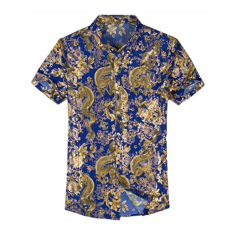 Hawaiian Casual 80% Silk Shirt Men Short Sleeve Both Sides Print Chinese Dragon Nation Flower 2019 Beach Summer Clothes