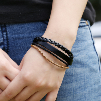 Fashion Leather Ropes Bracelets Multilayers Knitted Wrap Ropes Bracelets Pulseras 1