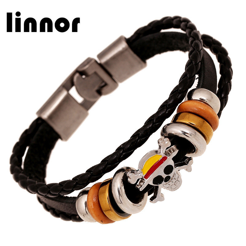 Anime Carton One Pieice Leather Bracelet Luffy Pirate Skull Weave Leather Bracelet & Bangle Cosplay Gifts Cordao Braslet