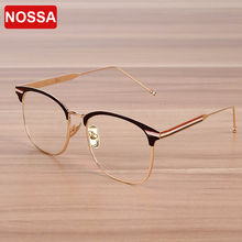 NOSSA Brand Designer Big Frame Women's Eyeglasses Female Glasses Frame Men's Metal Fashion Spectacle Frame Goggles Clear Lens