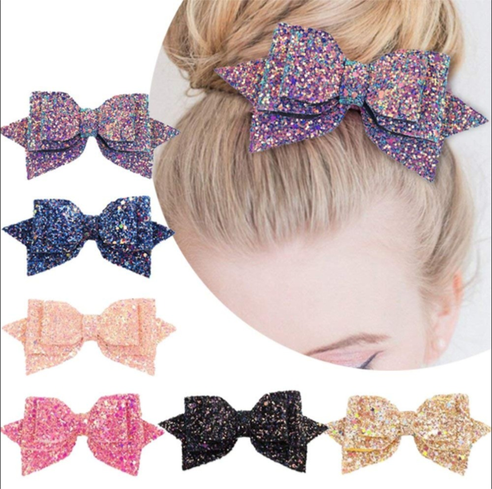 1Piece 5 Inch Baby Girl Big Glitter Hair Bow Kids Hairpins Hair Clip For Children Hair Accessories Retal Hair Clip Women 881