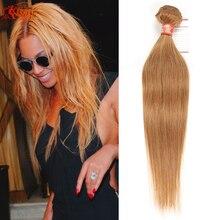 Honey Blonde Brazilian Straight Hair 100g 1 piece Virgin 7a Human Hair Bundles #27 Hair Weave Online 10-24inch In Stock