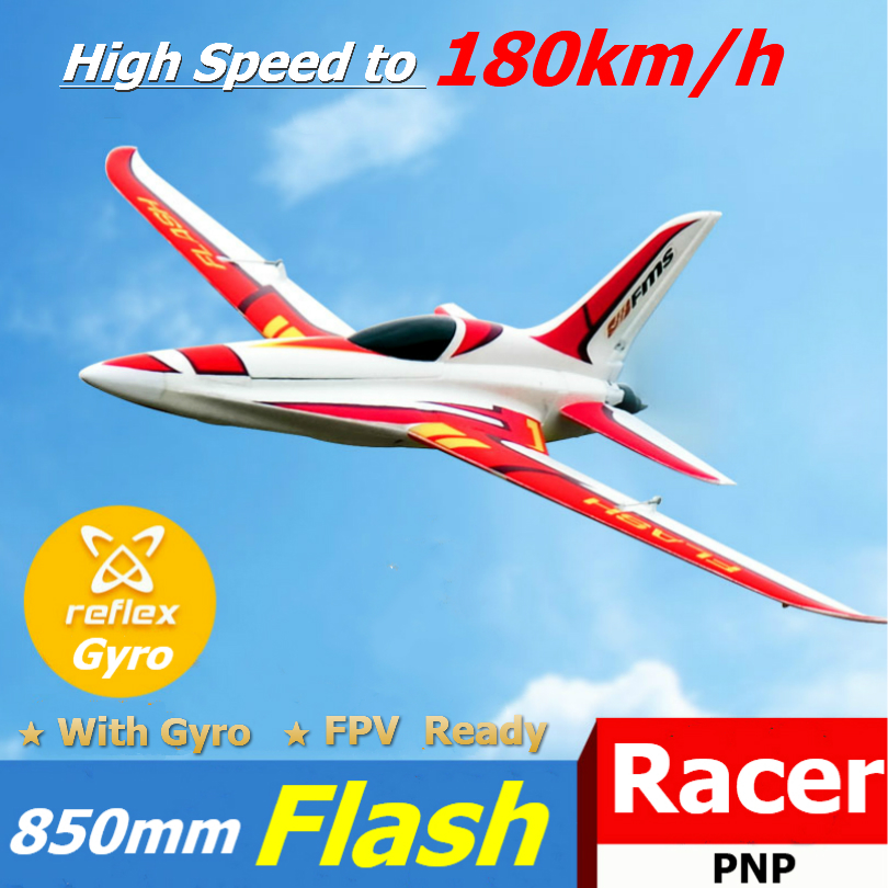 FMS RC Airplane Plane 850mm Flash Racing Racer High Speed to 180km/h FPV Ready with Gyro Balancer Model Hobby Aircraft Avion New image